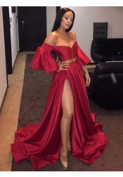 Stylish Off Shoulder Short Sleeves Dark Red Split-Front Sweep Train Prom Evening Dress with Belt