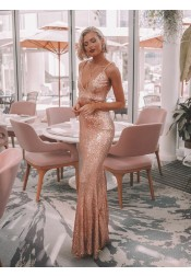 Elegant Spaghetti Straps Rose Gold Formal Sequined Floor-Length Prom Evening Dress