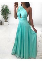 Modest A-Line One Shoulder Mint Floor-Length Ruched Prom Evening Dress