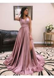 Modest V-neck Sleeveless High Leg Split Sweep Train Cross Back Prom Dresses