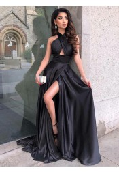 5edfb65892fb3 Fancy Black Criss-Cross Neck Split Front Sleeveless Floor-Length Prom Party  Dress