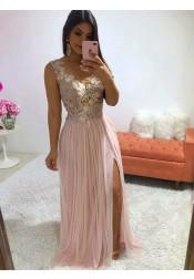 da88633de6043 Elegant Illusion Neck Pink Split Sleeveless Prom Party Dress with Appliques  Pearls