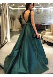 A-Line Sleeveless Bateau Neck Dark Green Satin Long Prom Dress
