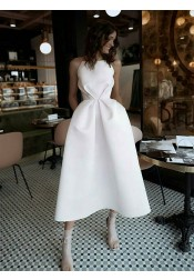 A-line Spaghetti Straps Backless White Satin Homecoming Dress with Pockets