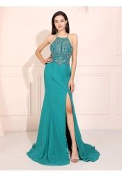Turquoise Mermaid Spaghetti Straps Long Prom Dress Backless Evening Dress