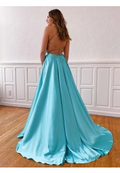 Blue Spaghetti Straps Long Prom Dress Split Party Dress