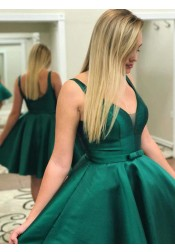 A-Line V-neck Sleeveless Green Satin Homecoming Dress with Bowknot