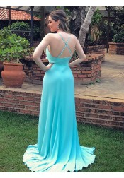 A-line V-neck Sleeveless Sweep Train Criss-cross Straps Mint Satin Prom Dress with Split