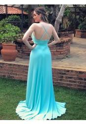 A-line V-neck Sleeveless Sweep Train Criss-cross Straps Mint Satin Prom Dress with Split