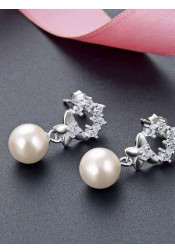 Stylish Silver Crystal Pearl Earrings for Women