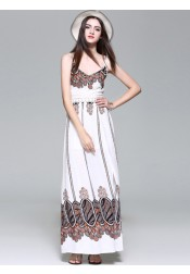 Spaghetti Straps White Sexy Side Slit Long Maxi Boho Dress