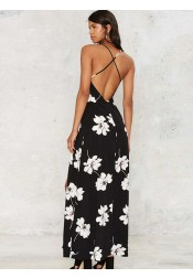 V-Neck Criss-Cross Straps Black Floral Printed Maxi Dress