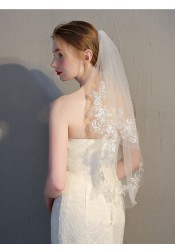 Two-tier Lace Edge Elbow 75cm Bridal Veils With Applique