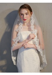 One-tier Fingertip 1.5m Applique Edge Waltz Bridal Veils