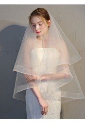 Two-tier Pencil Edge Fingertip 95cm Tulle Bridal Veils