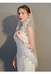 One-tier Fingertip Lace Edge 1.5m Bridal Veils