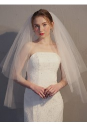 Two-tier Cut Edge 90cm Fingertip Bridal Veils