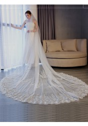 One-tier 3m Lace Applique Edge Cathedral Bridal Veils