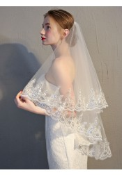 One-tier 90cm Fingertip Applique Edge Bridal Veils with Sequins