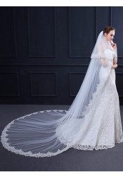 Two-tier 3m Lace Edge Cathedral Bridal Veils with Applique