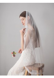Two-tiered Fingertip Lace Edge Bridal Veils