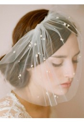 One-tier Cut Edge Blusher Veils With Imitation Pearls
