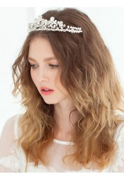Beautiful Rhinestone Alloy Tiaras with Rhinestone and Imitation Pearls
