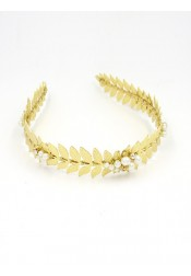 Unique Leaf Shape Alloy Tiaras with Imitation Pearls