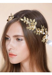 Unique Leaf Shape Alloy Headband with Imitation Pearls