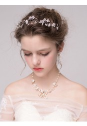 Pretty Alloy Headband with Crystal and Imitation Pearls
