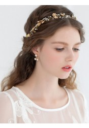 Cute Alloy Headband with Crystal and Artificial Flowers