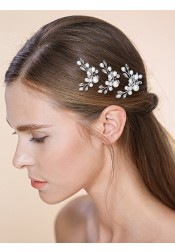 Ladies Classic Crystal Imitation Pearls Hairpins (Sold in single piece)