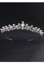 Ladies Gorgeous Alloy Tiara With Crystal Rhinestone Imitation Pearls