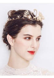 Unique Ladies Crystal Alloy Tiara With Imitation Pearls