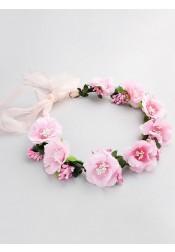 Pink Flower Girl's Head-wear Artificial Flowers Crown for Beach Wedding