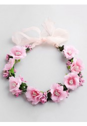 Pink Flower Girl's Head-wear Artificial Flowers Crown for Beach Wedding