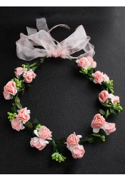 Lovely Pink Flower Girl's Head-wear Artificial Flowers Crown