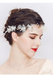 Ladies Gold Alloy Headbands with Crystal and Artificial Silk Flowers