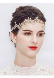 Gold Alloy Headbands with Crystal and Imitation Pearls