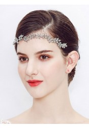 Simple Silver Bridal Headbands with Crystal