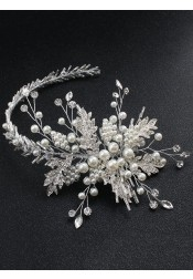 Pretty Silver Bridal Headpieces with Imitation Pearls