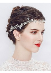 Silver Wedding Accessory Simple Bridal Headpieces with Pearls