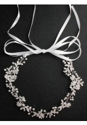 Luxury Wedding Accessory Silver Bridal Headband with Imitation Pearls
