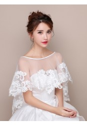 Bateau High Low Wedding Wraps with Appliques