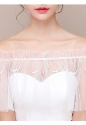 Off-the-Shoulder Wedding Wraps with Beading