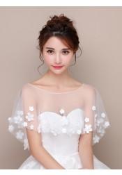 Bateau White Tulle Wedding Wraps with Appliques