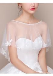 Bateau White Tulle Wedding Wraps with Appliques Beading