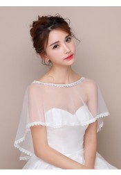 Bateau White Tulle Wedding Wraps with Lace