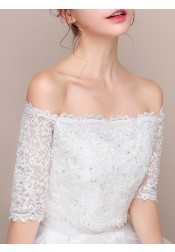Off-the-Shoulder Lace Wedding Wraps with Crystal