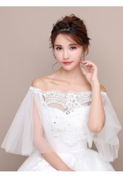 Off-the-Shoulder 3/4 Sleeves Lace Wedding Wraps with Crystal